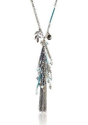 "Leslie Danzis 32.5"" Long Gold Austrian Crystal Beaded Tassel Chain Necklace NWT"