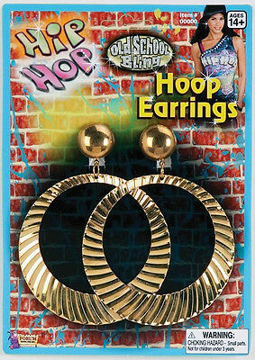 Giant Hoop Earrings Hip Hop Bling 80's Fancy Dress Halloween Costume Accessory - 80 Hip Hop Clothes