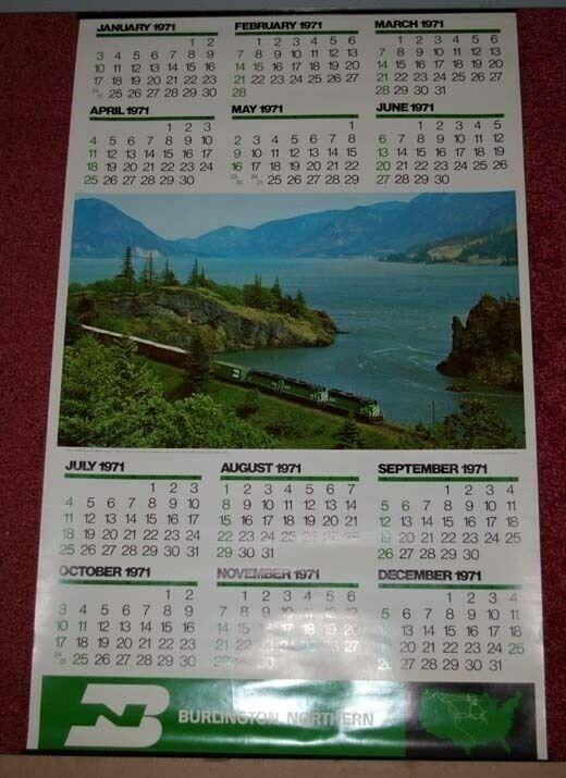 HUGE 1971 Burlington Northern Railroad Calendar Columbia River Cascades SUPERB!
