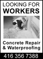 Hyring labour for concrete repair & waterproofing projets