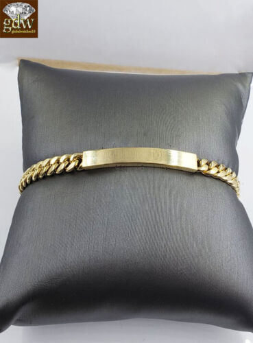 "REAL 10k Yellow Gold Cuban ID Link Children KIDS Bracelet 6 mm 7"" Inch Box Clasp"