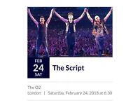 2 x The Script O2 London Saturday 24th February 2018 Standing Tickets