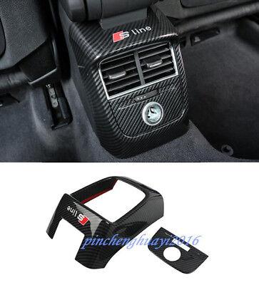 Carbon Fiber Interior Rear Air Vent Outlet Cover Trim For Audi A3 8V 2014 2018