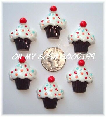 6PC RED CHERRY CHOCOLATE CUPCAKE FLATBACK RESINS FLAT BACK 4 HAIRBOW BOW CENTER