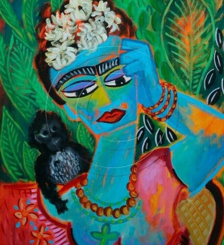 FRIDA KAHLO | Artist Print of Painting | Monkey | Foliage Flowers |  SFASTUDIO