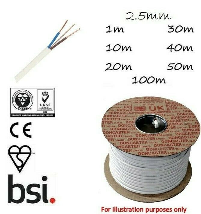 10MM TWIN AND EARTH CABLE 6242Y 2 METRE LENGTH SUITIBLE SHOWERS//COOKER CABLE