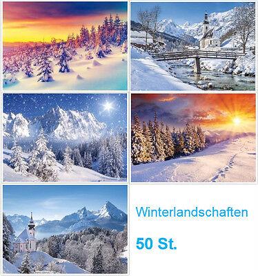 """""""WINTER-LANDSCHAFTEN"""" Weihnachtskarten / Postkarten-Set (50 St.)"""