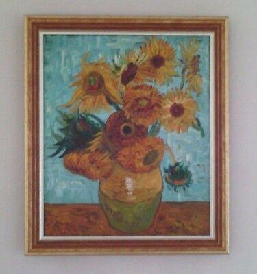 Ölgemälde frei nach van Gogh SONNENBLUMEN mit edlem Rahmen Atelierarbeit 60x68cm