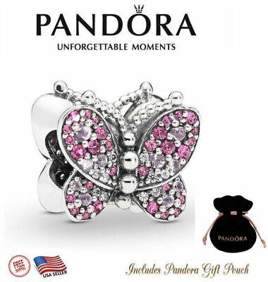 New Authentic S925 ALE Pandora Bracelet Charm Pink Butterfly 797882NCCMX