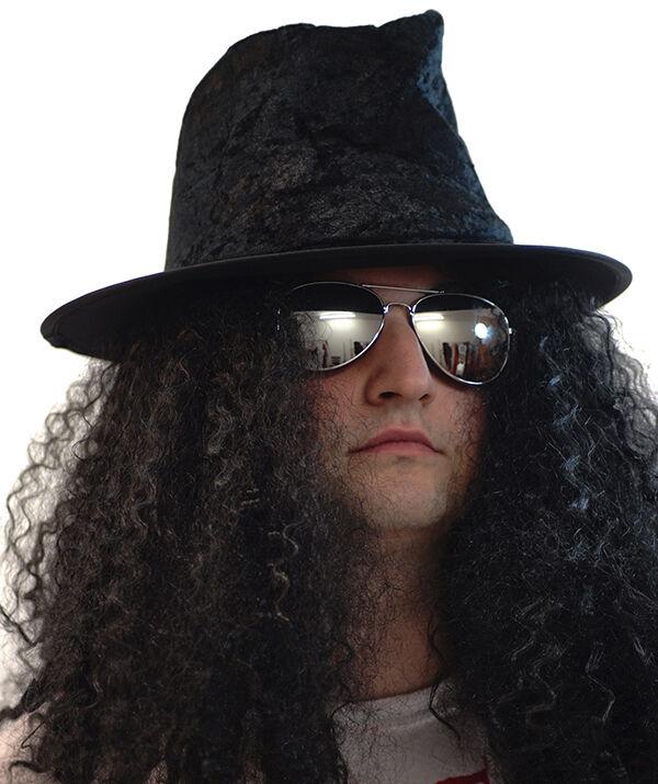 HARD rocker-slash-heavy METAL ROCK STAR CAPPELLO PARRUCCA e specifiche Costume Set