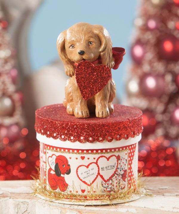 Bethany Lowe Puppy Love On Box Figure NEW TL8692 Collectible