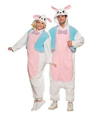 Adult One Piece Easter Bunny Costume Animal Jumpsuit with Hood Size Standard - Adult Pink Bunny Costume