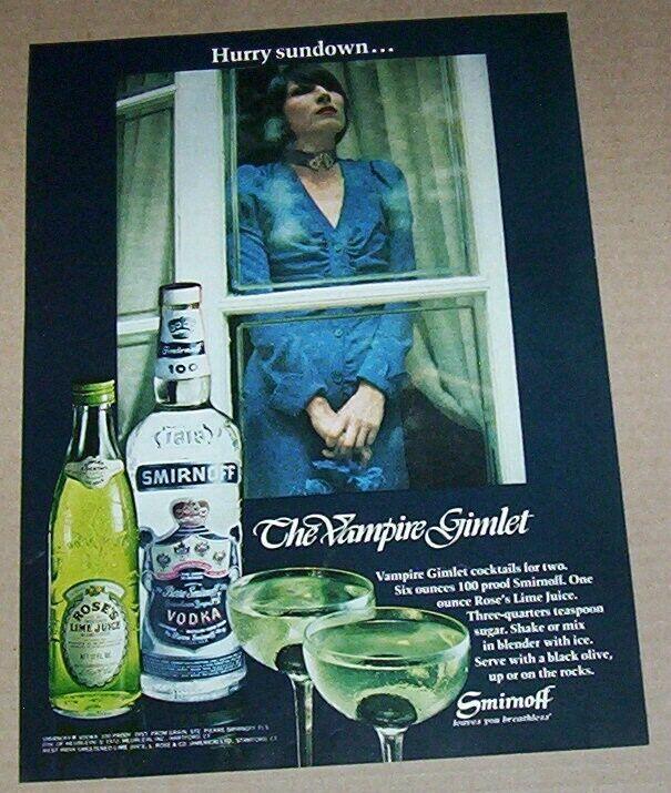 1972 print ad page - VAMPIRE Gimlet Smirnoff Vodka Rose's Lime GIRL advertising