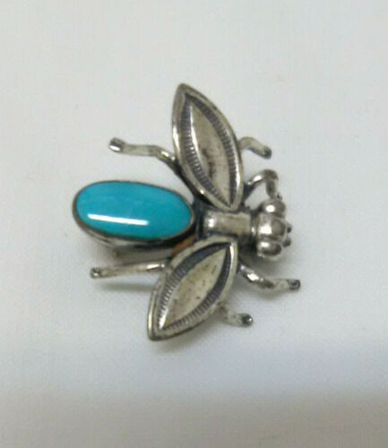 Vintage Sterling and Turquoise Fly Insect Pin Broach