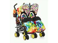 Cosatto double pushchair pixelate