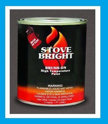 STOVE BRIGHT 1200-Degree F Brush-On Stove Paint, 16 Fluid OZ Black #62M290 SATIN