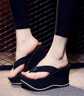 New Womens Platform Wedge Heel Flip Flops Platform Beach Slippers Shoes Sandals - Slipper Heels Shoes