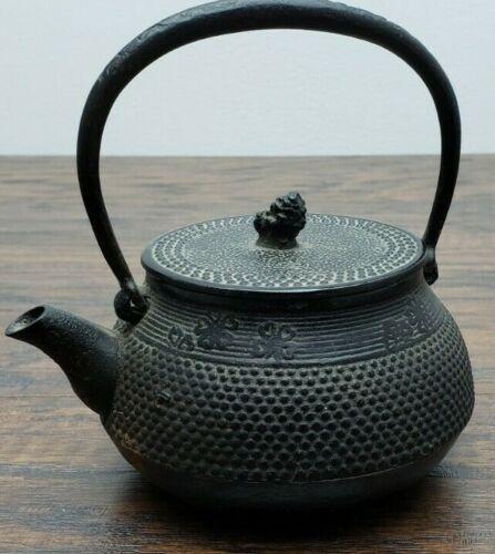Old Japanese Tetsubin Cast Iron Water Kettle Tea Pot Signed Small Mini
