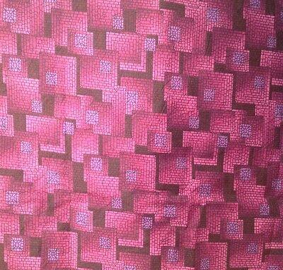 TABLECLOTH  MOSIAC BLOCKS DESIGN ON SHADES OF MAROON BACKGROUND