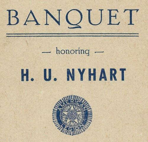 1937 H.U Nyhart American Legion Service Certificate Banquet Program-Glen Lyon PA