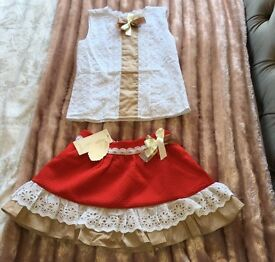 Girls age 8 skirt and top set - NEW