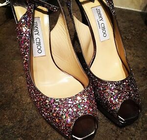 Jimmy Choo Clue Coarse Glitter Slingback Pump