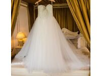 Designer Sweetheart Strapless, Heavily Encrusted Corset with Ballgown netting Wedding Dress