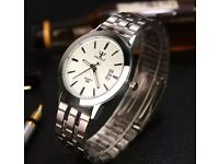 Men's waterproof date notcilucten stainless steel glass quartz analog watch