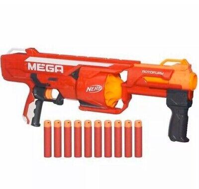 NEW! NERF N-Strike Mega RotoFury Blaster With 10 Mega Darts