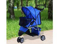PawHut Pet Stroller Large Dog Cat 4 Wheels Folding Jogger Walk Easy Carrier Cart