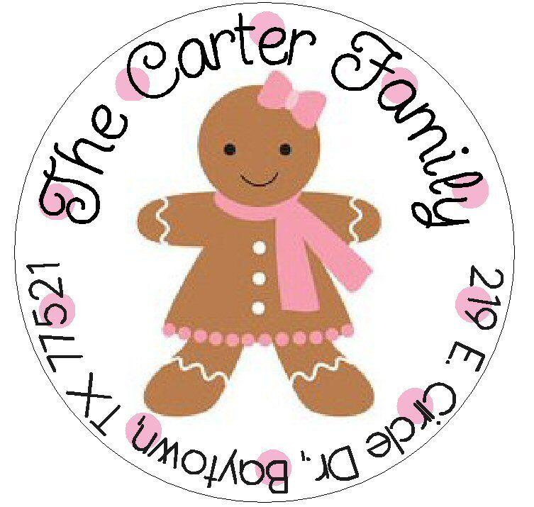 CUTE GINGERBREAD GIRL  -  Round Return  Address Labels