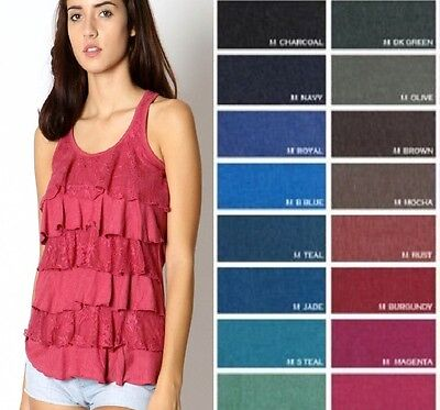- LACE TIERED RACER BACK RUFFLE TANK TOP SLEEVELESS TEE MULTI-COLOR