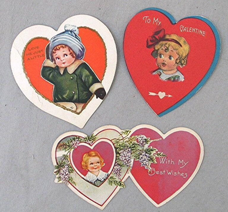 Vintage Valentine Card -- 3 Heart Shaped Valentines