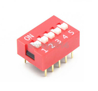 10pcs Slide Type Switch Module 2.54mm 5-bit 5 Position Way Dip Red Pitch New