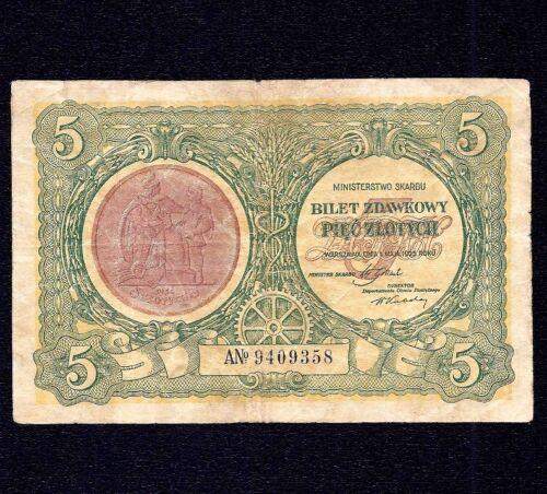 POLAND  5  ZLOTE   1925  P-48