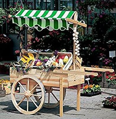 PROMADINO Marktwagen mit Baldachin weiß/grün 173x82x184cm 340/23 (Baldachin Wagen)