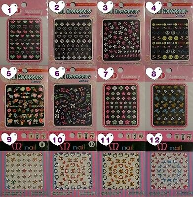 3D Nail Art Sticker Flower Colorful Random 10 sheets NEW stylish Korean Design