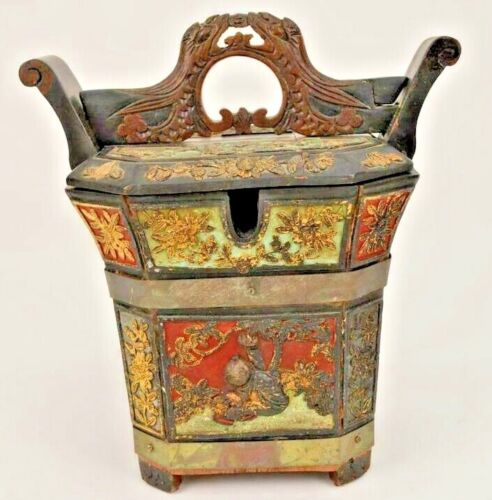 "Asian Tea Caddy Polychrome Paint on Gilded Wood Panel Secret Opening 14"" High"