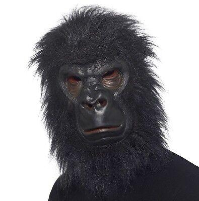 Gorilla Kostüm Maske Voller Kopf Latex & Pelz Affe Maske von Smiffys