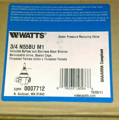 "WATTS NEW 3/4"" PRESSURE REDUCER VALVE Model # N55BU M1"