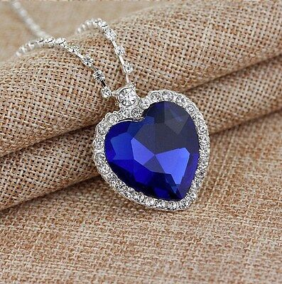 Silver Heart Of The Ocean Sapphire Blue Crystal Necklace Pendant Gift Box - Blue Necklaces