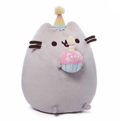 "GUND 10.5"" Plush PUSHEEN HAPPY BIRTHDAY w PINK CUPCAKE & PARTY HAT ~NEW~"
