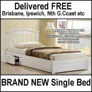 DELIVERED FREE – White Single Bed with Storage – Hardwood Timber New Farm Brisbane North East Preview