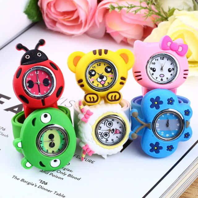 Fashion Animal Slap Snap On Silicone Wrist Watch Boys Girls Children Kids D~