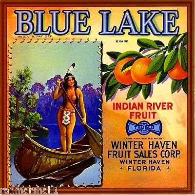 Winter Haven Florida Blue Lake Orange Citrus Fruit Crate Label Vintage Art Print