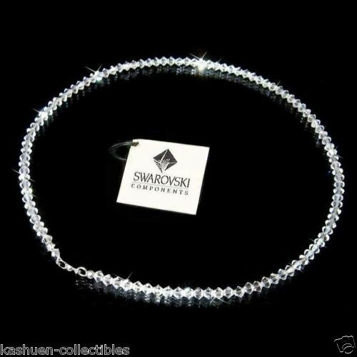 w Swarovski Crystal ~Simple Bridal Wedding Prom Sterling Silver Necklace Jewelry