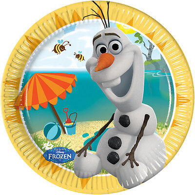 DISNEY FROZEN OLAF ON THE BEECH PACK OF 8 LICENSED 20cm PLATES 1ST CLASS POST