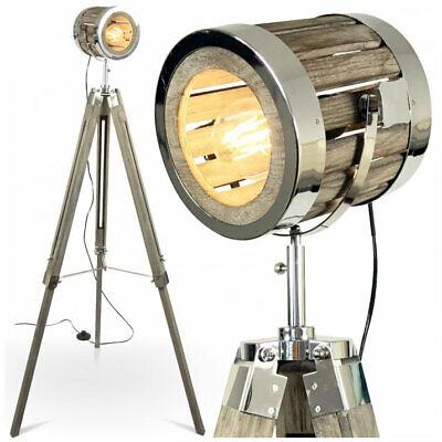 Stehleuchte Stehlampe Retro Vintage Boho Studio Design Lampe Stativ Antik Holz