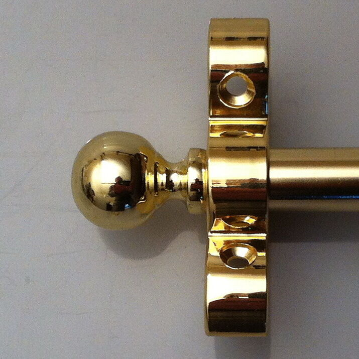 Set of 13 Polished Brass 1/2 x 36 Inch Stair Carpet Rods Ball Finials (R06LB)