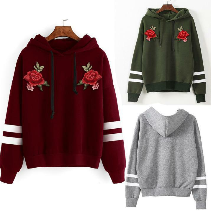 Women Long Sleeve Hoodie Sweater Fleece Appliques Pullover BlouseThick Autumn